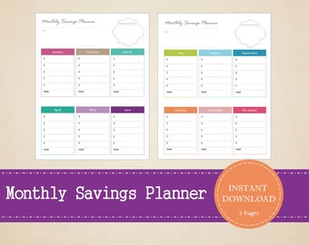 Monthly Savings Planner - Savings List - Yearly Savings Planner - Savings Tracker - Printable and Editable - INSTANT PDF DOWNLOAD - 2 Pages
