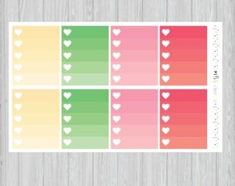 Summer Ombre Heart Checkbox Planner Stickers, Summer Vibes Heart Checklist EC Vertical