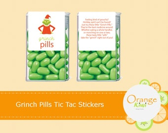 Grinch Pills Tic Tac Lables, Grinch Pill Tic Tac Stickers