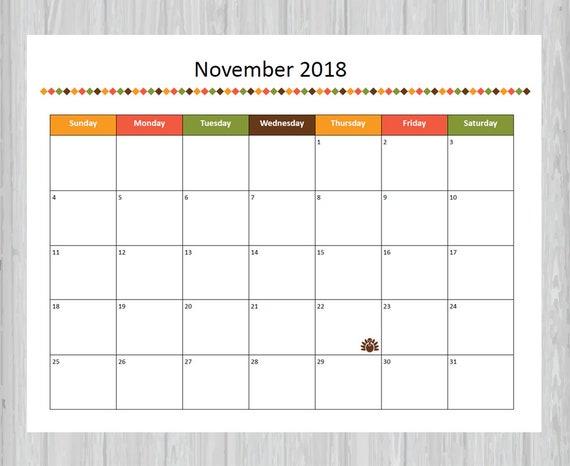 Printable November 2018 Calendar Seasonal Monthly Calendar Etsy
