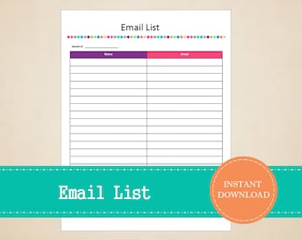 Email List - Business Planner - Printable and Editable - INSTANT PDF DOWNLOAD