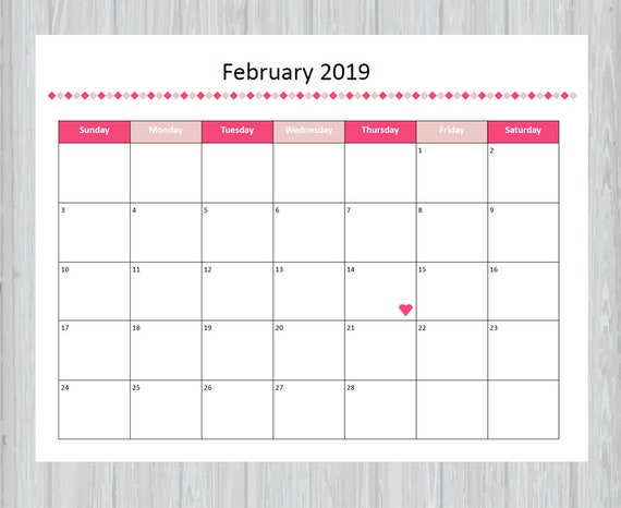 Fan image in printable february calander