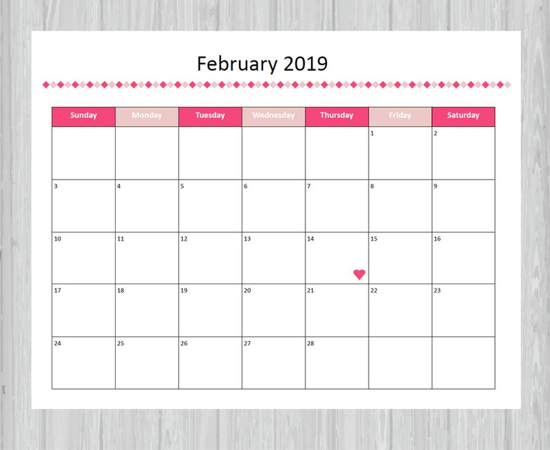 Printable February 2019 Calendar Seasonal Monthly Calendar Etsy