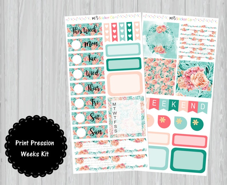 Peach and Mint PP Weeks Stickers PP Weeks Planner Stickers PP Weeks Weekly Kit