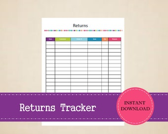 Returns Tracker - Small Business Planner - Product Returns - Printable and Editable  - INSTANT PDF DOWNLOAD
