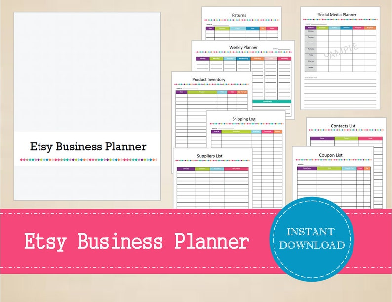 Printable Etsy Business Planner - Small Business Planner - Printable and  Editable - INSTANT PDF DOWNLOAD - 18 Pages