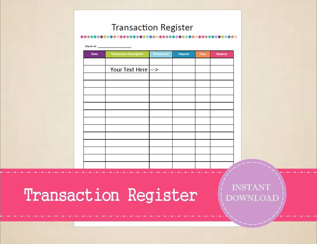 transaction register budget and finance binder printable etsy