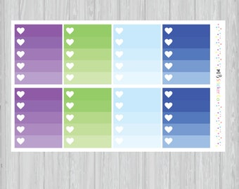 Peacock Ombre Heart Checkbox Planner Stickers, EC Vertical