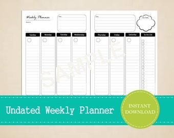 Undated Half Page Weekly Planner - Printable and Editable Weekly Planner - INSTANT PDF DOWNLOAD
