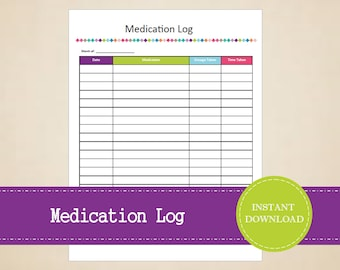 Medication Log - Medical Binder - Medical Information Kit - Printable and Editable - INSTANT PDF DOWNLOAD