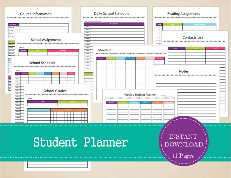 Student Planner - Printable Student Organizer - INSTANT PDF DOWNLOAD - 11  Pages