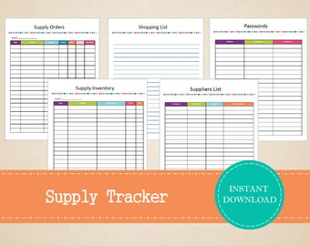 Small Business Supply Tracker - Business Planner - Small Business Planner - Printable and Editable - INSTANT PDF DOWNLOAD - 5 Pages