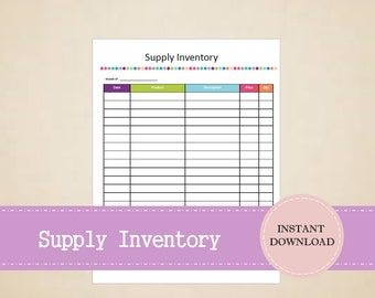 Supply Inventory - Business Planner - Small Business - Printable and Editable - INSTANT PDF DOWNLOAD