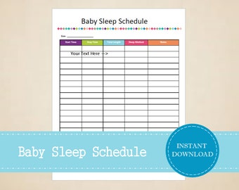 Baby Sleep Schedule - Baby Planner - Pregnancy Planner - Printable and Editable - INSTANT PDF DOWNLOAD