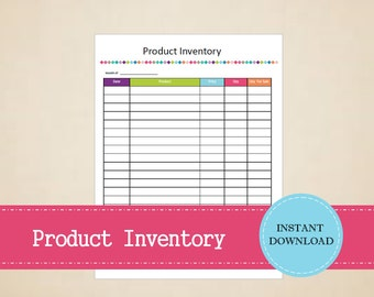 Product Inventory - Business Planner - Printable and Editable - INSTANT PDF DOWNLOAD