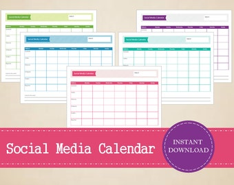 Colorful Social Media Planner - Weekly Social Media Calendar - Printable and Editable Weekly Planner - INSTANT PDF DOWNLOAD - 5 Pages