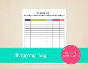 Shipping Log - Business Planner - Printable and Editable - INSTANT PDF DOWNLOAD