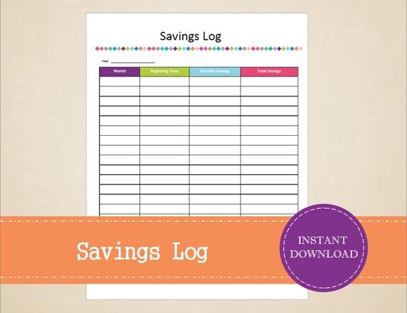 savings log budget planner savings planner printable and etsy