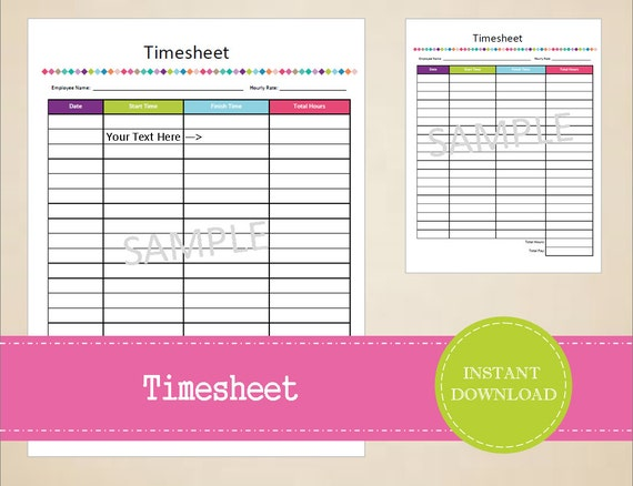 timesheet business printables small business planner etsy
