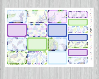 Peacock Assorted Boxes Planner Stickers, Peacock Half Box Planner Stickers, Quarter Box Stickers, EC Vertical