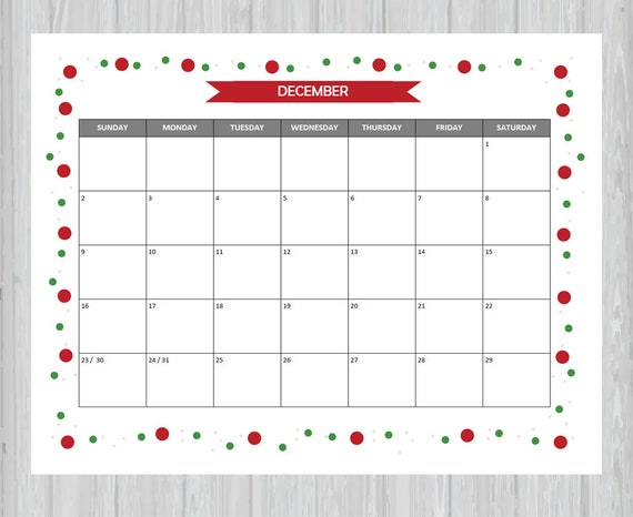 Printable And Editable December 2018 Calendar Seasonal Etsy