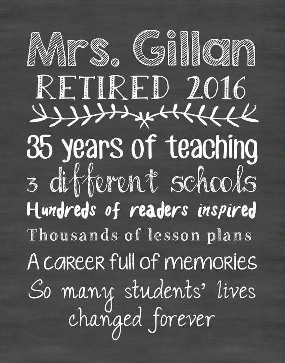 teacher retirement print teacher gift teacher print chalkboard etsy