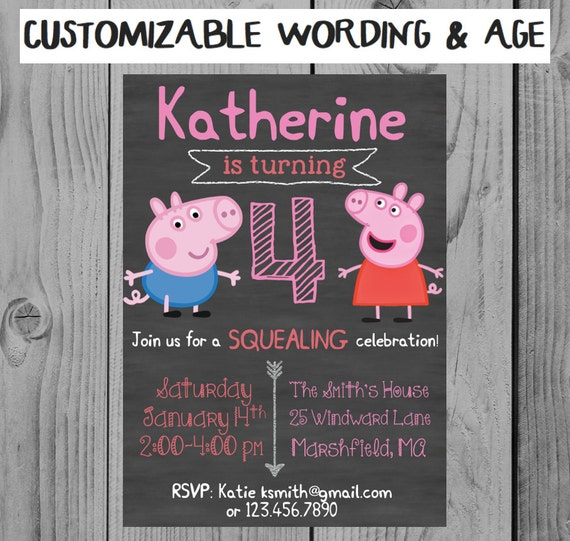 Custom Peppa Pig Birthday Invitation Party Girl