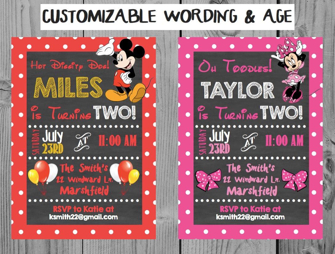 Custom Chalkboard Mickey Birthday Invitation Minnie Birthday | Etsy