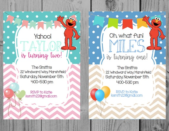 Custom Elmo Birthday Invitation Party Sesame Street