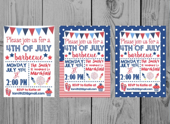 printable fourth of july invitation 4th of july invitation etsy