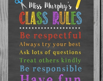 Class Rules Sign Personalized Teacher Decor Chalkboard Sign Classroom Decoration Classroom Decor Personalized Teacher Gift Teacher Print