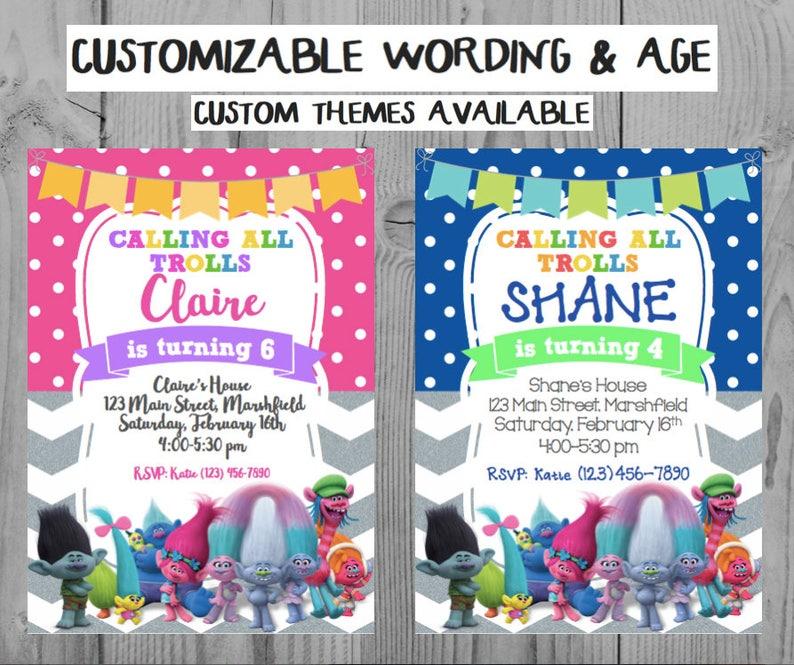 Custom Trolls Birthday Invitation Party Personalized