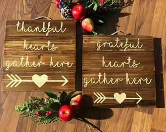 "THANKFUL or GRATEFUL 10"" Square Wood Pallet Sign Hostess Christmas Gift"