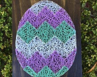 MADE TO ORDER - Custom Chevron Easter Egg String Art Wooden Board
