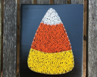 MADE TO ORDER - Candy Corn Fall Halloween String Art Wooden Board