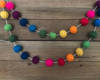 Rainbow Bright Felt Ball Garland- Pom Pom Garland- Nursery, Party, Girl Boy Room Decor