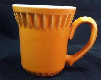 Vintage Pfaltzgraff Mug Burnt Orange- No 354M- Made in USA- Mid Century Modern- Replacement Coffee Mug- Solid Color Ribbed- Vintage Ceramic
