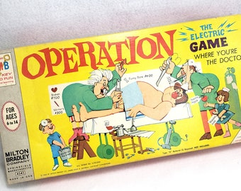 Vintage Operation Game With Smoking Doctor Box 1965 Edition By Milton Bradley Pieces For Parts Or Repair