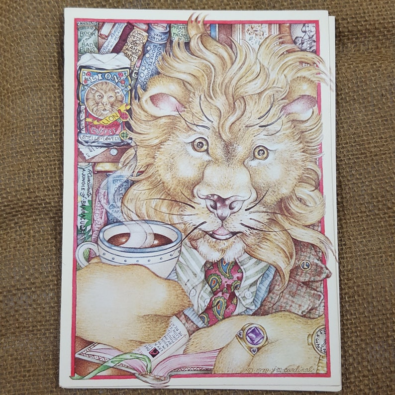 8 Vintage Animal Note Cards Creature Comforts Jill Marie Cardinal 1979 Abraham Lion Blank Unused Cards Funny Stationery Pippa Poolamus