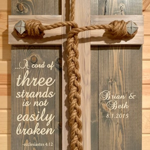 Whitewashed Crossletter Wedding Unity Ceremony Braid w personalizations and Eccl 4:12 verse