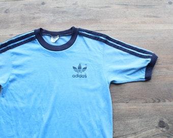 4b3d0931ef88 Vintage 1970s ADIDAS Blue Ringer Tee    Trefoil Logo 3 Stripe T Shirt     Vintage Sportswear    70s Activewear