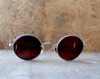691386f8bb5 COLLECTIBLE Antique 1920s 30s Silver Small Round Frame Black Tint Marquette  Sunglasses    Cable Arms