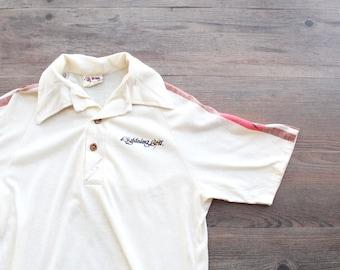 a559663e71 Vintage 1970's LIGHTNING BOLT Pale Yellow Polo Shirt // Rainbow Stripe  Sleeve // 70s Collared Mens Short Sleeve Shirt