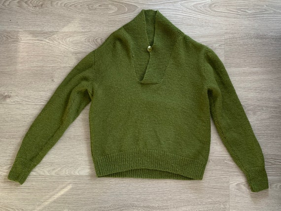 Vintage 1950s Green Mohair Wool Sweater // 50s V N