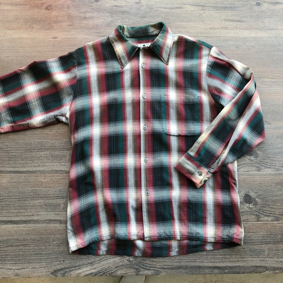 Vintage 1950s Mens CLARFIELD Green & Red Plaid Button Up Shirt 50s Vintage Workwear Made in Canada