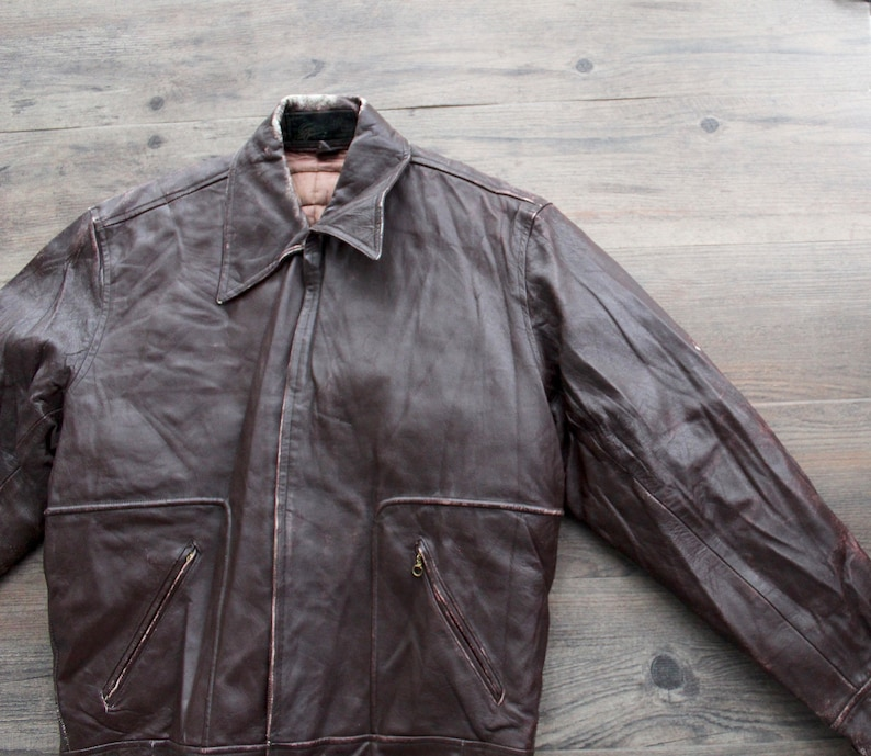 70bbca687 RARE Vintage 1950s GOODWILL Leather Harrington Bomber Jacket // 50s  Chocolate Brown Sportswear Jacket // Quilted Bomber // Collectible