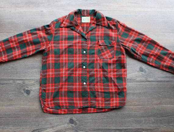 Vintage 1940's Red and Green Flannel Shirt 40s Mens Plaid Shirt Top Loop Collar Shirt Tartan Plaid Button Up Vintage Workwear