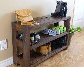 Rustic Shoe Rack 3 levels, Shoe Storage, Shoe Organizer, Shoe Cabinet, Shoe Rack Wood