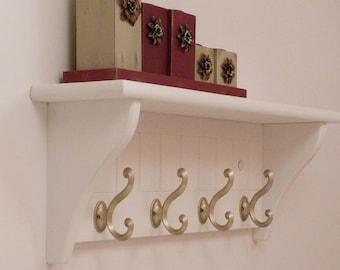 Entryway Coat Rack, Bedroom Wall Shelf, Bathroom shelf, Towel Shelf-4 Matte Nickel Hooks
