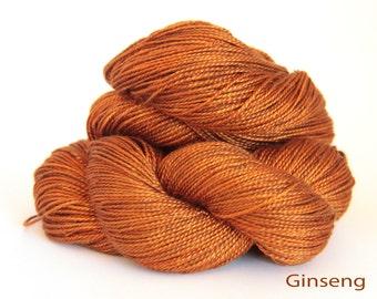 Tamarind sunset on Ginseng pure mulberry silk yarn base, dto, dye to order, pure silk yarn, fingering, 4 ply, Swiss silk yarn, 400m, 100gms